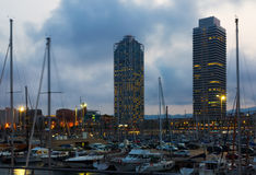 Twilight view of Port Olimpic in Barcelona Royalty Free Stock Image