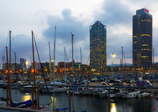 Twilight view of Port Olimpic in Barcelona Stock Photo