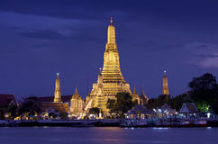 Night view of Famous Thai temple Stock Photo