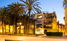 Twilight view of Rambla passage at Badalona Royalty Free Stock Images