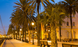 Twilight view of Rambla passage at Badalona Stock Photos