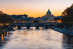 Twilight view of Rome at St. Peter cathedral in Italy Stock Image