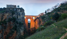 Twilight view of Ronda with Puente Nuevo bridge Stock Photography