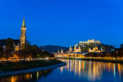 Twilight view of Salzburg old town Royalty Free Stock Photo