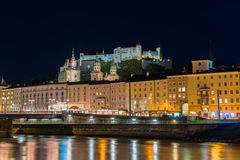 Twilight view of Salzburg old town Stock Image