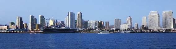 A Twilight View of San Diego Bay and Downtown Stock Photography