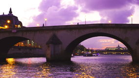 Twilight view of the Seine River in Paris stock video