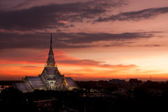 Twilight view of Sothorn Wararam Woraviharn temple. Chachoengsao province, Thailand Stock Image