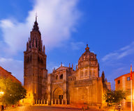 Twilight view of Toledo Cathedral Stock Image