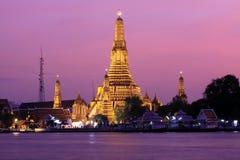 Twilight view of Wat Arun. Across Chao Phraya River during sunset in Bangkok, Thailand stock image