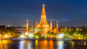 Twilight view of Wat Arun Temple, with Bokeh effect Stock Image