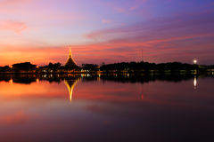 Twilight view of Wat Nong Wang Temple Royalty Free Stock Image