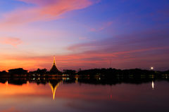 Twilight view of Wat Nong Wang Temple Royalty Free Stock Images