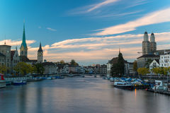 Twilight view of Zurich Royalty Free Stock Images