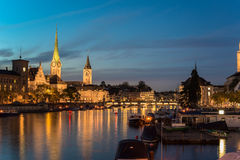 Twilight view of Zurich Royalty Free Stock Photo