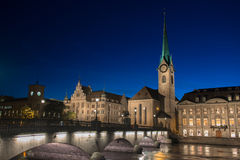 Twilight view of Zurich Stock Image