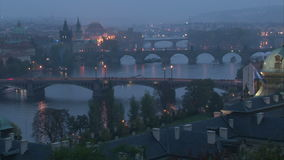 Twilight on Vltava river in Prague. With boats. Fast motion. Time lapse stock video