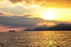 Twilight. A warm late-summer sunset over the sea of the Amalfi Coast Stock Photo