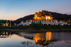 Twilight wat Ho kham luang temple northern thailand Royalty Free Stock Photo