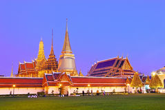 Twilight Wat pra kaew Grand palace ,Bangkok Stock Photo