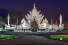 Twilight at Wat Rong Khun Stock Photography
