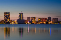Twilight at Weer Water in Almere. Twilight at Weer Water in Almere, Flevoland, The Netherlands royalty free stock photo
