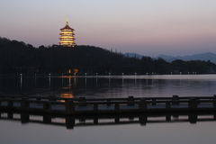Twilight in West Lake of Hangzhou, China Royalty Free Stock Photography