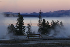 Twilight at West Thumb of Yellowstone Lake Royalty Free Stock Photography