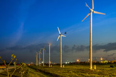 Twilight Wind Turbines Stock Photography