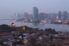 Twilight in Xiamen city and Gulangyu Island, southeast China Royalty Free Stock Photography