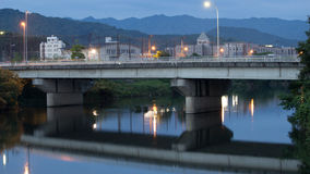 Twilight in Yamaguchi City. View from the riverside during the twilight Stock Images