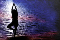 Twilight Yoga Stock Photography