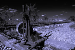 Twilight zone. Disused railway line since the USSR stock image