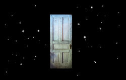 Twilight Zone Old Door In Space Royalty Free Stock Photos