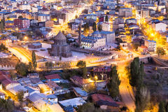 Twilight zoomed view of Kars city through the castle of Kars Stock Photos