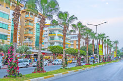 Twilights in Alanya. ALANYA, TURKEY - MAY 8, 2017: The pquiet evening in Ataturk boulevard, the perfect place for the shopping or the walk, on May 8 in Turkey Royalty Free Stock Image
