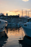 The twilights. The scenic reflection of sunset in sea waters, Cannes, France Stock Photo