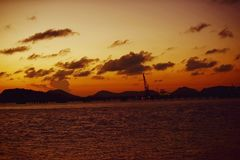 Twiligth time. After sunset Red orange sky and golden cloud royalty free stock images