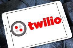 Twilio communications company. Logo of Twilio company on samsung tablet. Twilio is a cloud communications platform as a service PaaS company. Twilio allows Stock Images