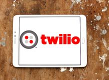 Twilio communications company. Logo of Twilio company on samsung tablet on wooden background. Twilio is a cloud communications platform as a service PaaS company Royalty Free Stock Images