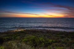 Twillight на пляже Trigg, WA, Австралия Стоковая Фотография