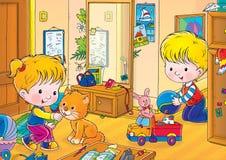 Twin. Children's book illustration for yours design, postcard, album, cover, scrapbook, etc vector illustration