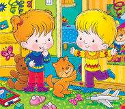 Twin. Children's book illustration for yours design, postcard, album, cover, scrapbook, etc Royalty Free Stock Photos