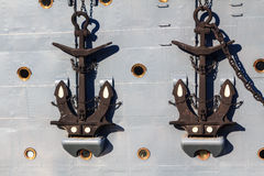 Twin anchors of Aurora in St. Petersburg Royalty Free Stock Photography