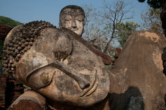 Twin ancient buddhas in Thai temple . Stock Photography