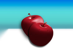 Twin Apples 3D. Illustration on a white table with blue background Stock Image