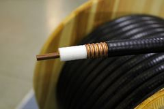 Twin-axial cable. Wood spool of twin-axial cable at warehouse Stock Images