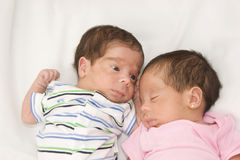 Twin babies. Portrait of twin babies boy and girl Royalty Free Stock Photos