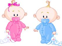 Twin Babies. Twin Baby Boy And Girl With Pacifiers and Toys royalty free illustration