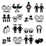 Twin babies icons set - double pram, twin boy and girl designs. Twins vector icons set, twin children, baby clothes designs isolated on white Royalty Free Stock Photos